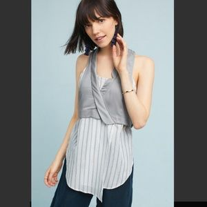 Anthropologie Maeve Grey Structured Layered Tank